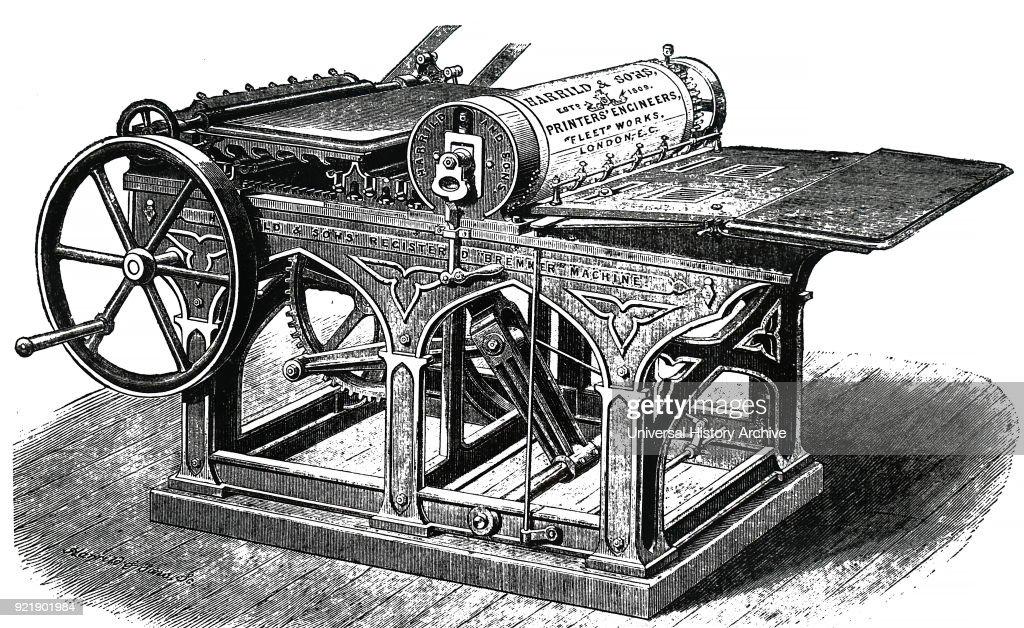 Nineteenth century Bremmer printing press. : News Photo