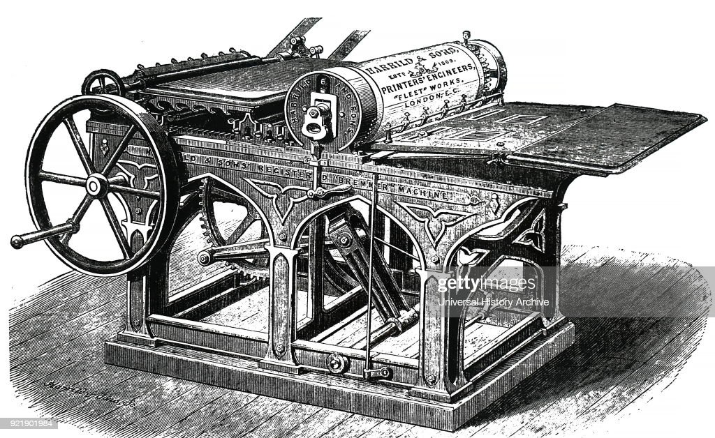 Nineteenth century Bremmer printing press, by Harrild & Sons of London. 1872.