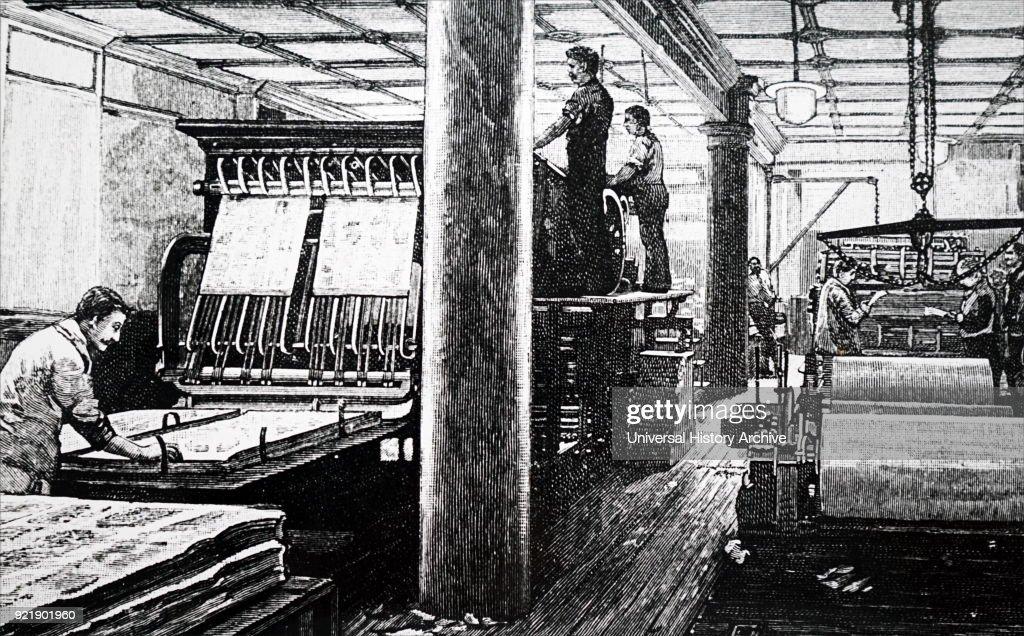 Nineteenth century British printing press. : News Photo