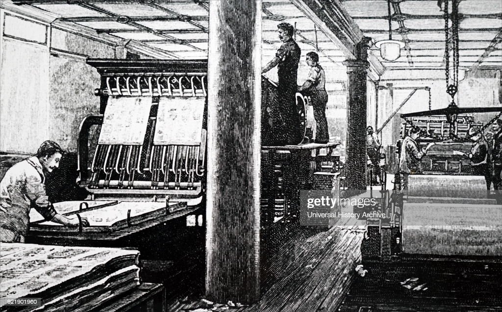 Nineteenth century British printing press, circa 1870.