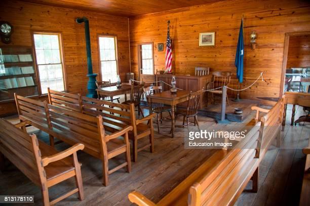 Nineteenth century court room in Manatee Village Historical Park Bradenton Florida