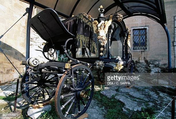 Nineteenth century hearse in the courtyard of Bojnice castle Slovakia 12th19th century
