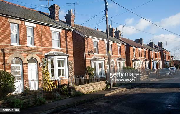 Nineteenth century red brick housing in Woodbridge Suffolk England
