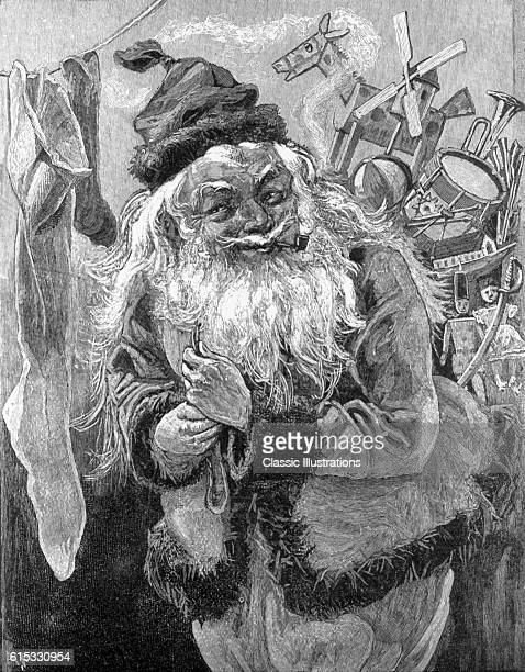 Nineteenthcentury American book illustration for poem Twas the Night Before Christmas by Clement C Moore