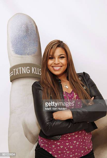 Nineteenyearold music artist Jordin Sparks publicly pledge with her thumbprints not to text and drive kicking off the national 'X the TXT' tour...