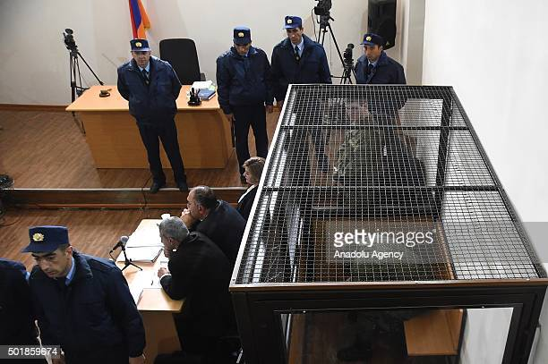 Nineteenyearold Russian conscript Valery Permyakov is seen during the first day of the trial at a court in Gyumri Armenia on December 18 2015...