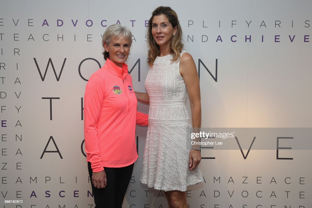 Nine-time Grand Slam champion Monica Seles and Judy Murray, OBE attended the Women's Tennis Association's Tennis on the Thames event to celebrate the women shaping the world through their achievements both on and off the court during the WTA Tennis On The Thames in Bernie Spain Gardens on June 28, 2018 in London, England.