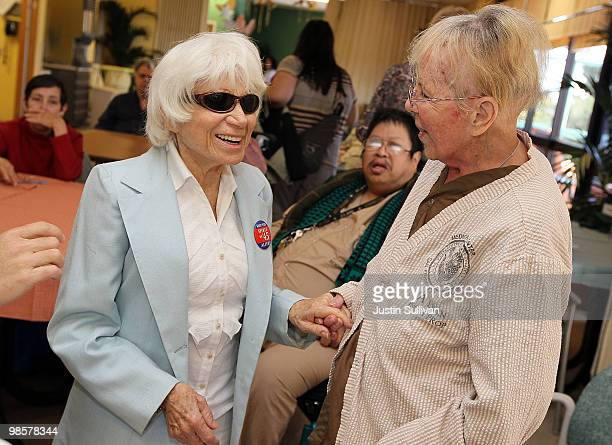 Ninety oneyearold Edith Shain meets with veterans at the San Francisco VA Medical Center April 20 2010 in San Francisco California Shain who claims...