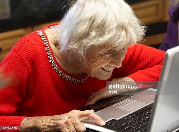 Ninety year old lady on laptop