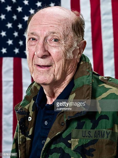 Ninety Year Old World War II Veteran by US Flag