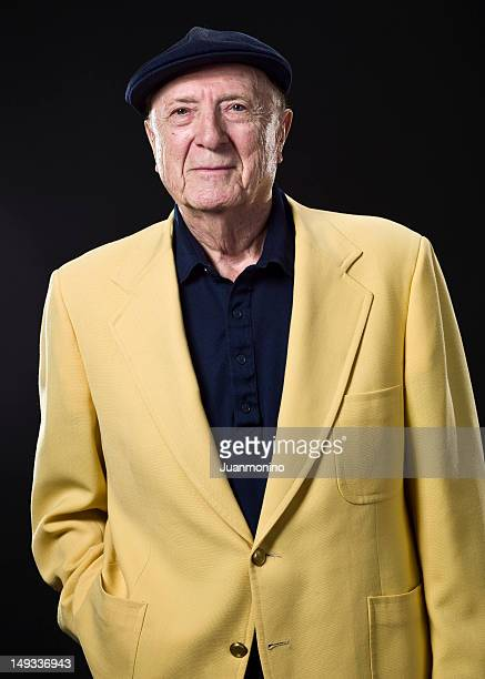 ninety years old man - yellow blazer stock photos and pictures