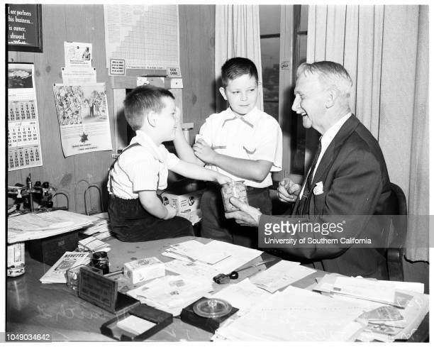 Ninetyfirst birthday Azusa food supplement manufacturer 6 June 1952 GM Bartlett 91 Jan Vinson 11Dennis Lee Vinson 3 Caption slip reads 'Photographer...