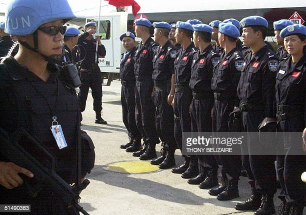 Ninety-five Chinese police arrive 17 October 2004 in Port-au-Prince from Beijing to reinforce the police component of the United Nations'...