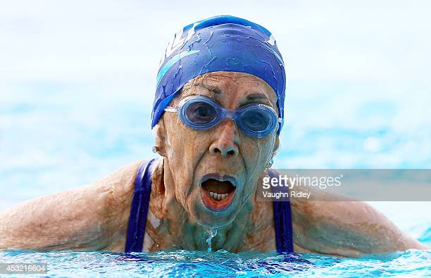 Ninetyone year old Rosa Segura Flores of Mexico competes in the Women's 400m Individual Medley at Parc JeanDrapeau during the 15th FINA World Masters...