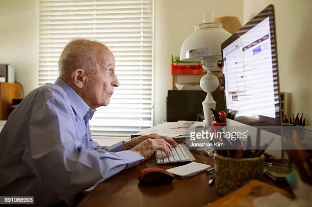 Ninety-seven year old man at home.