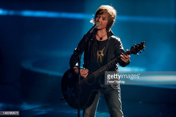 Nineyearold Marco performs during DSDS Kids Finals at Coloneum on May 25 2012 in Cologne Germany