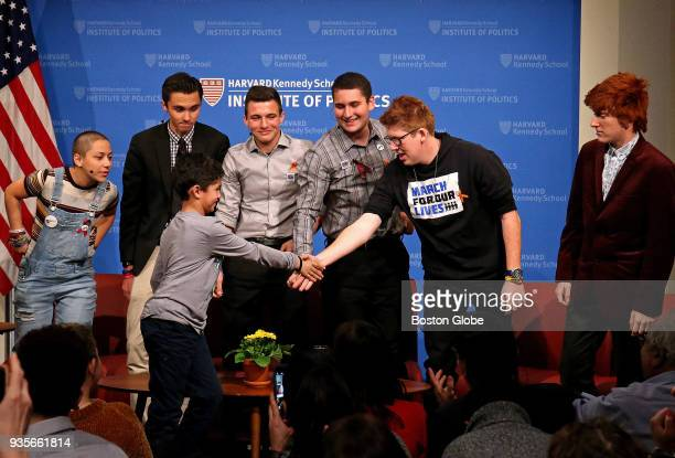 Nineyearold Noah King from Belmont meets the panel after asking a question during the QA session at a panel of students from Parkland FL's Marjory...