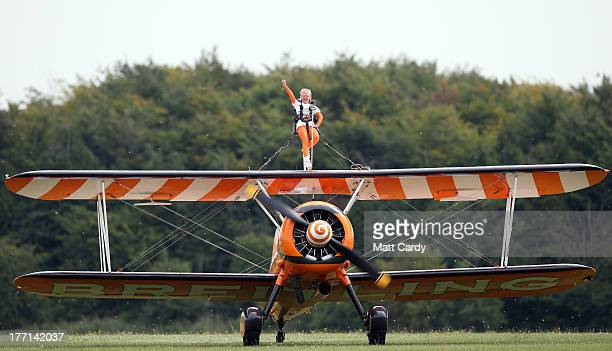 NineyearRose Brewer comes into land after she wingwalked over Rendcomb airfield in Gloucestershire to become one of the world's youngest formation...