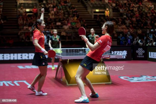 Ning Ding of China and Shiwen Liu of China celebrate after winning Women's Doubles Finals at Table Tennis World Championship at Messe Duesseldorf on...
