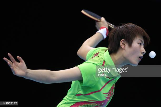Ning Ding of China eyes the ball during her Women's Singles Table Tennis fourth round match against Huajun Jiang of Hong Kong, China on Day 3 of the...