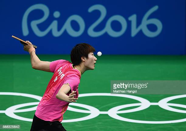 Ning Ding of China in action during the Womens Table Tennis Singles Final match against Li Xiaoxia of China at Rio Centro onn August 10 2016 in Rio...