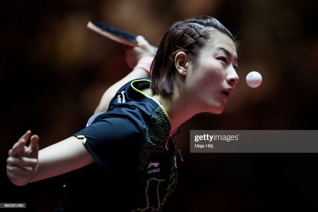 Ning Ding of China in action during Women's Singles Final at Table Tennis World Championship at at Messe Duesseldorf on June 4, 2017 in Dusseldorf, Germany.
