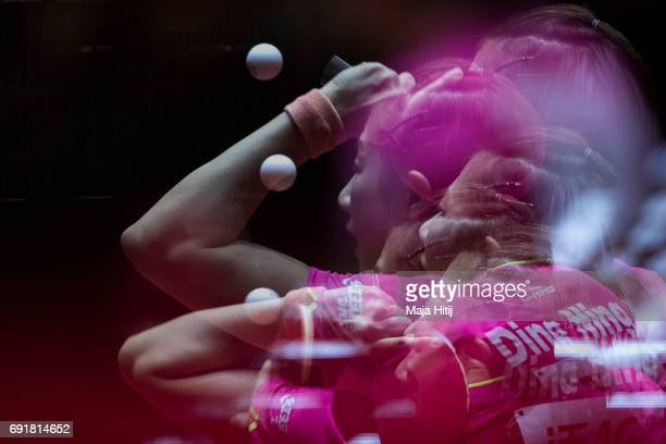 Ning Ding of China in action during Women's Singles semifinals at Table Tennis World Championship at Messe Duesseldorf on June 3 2017 in Dusseldorf...