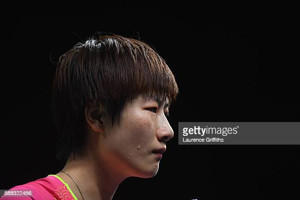 Ning Ding of China looks on during the Womens Table Tennis Singles Final match against Li Xiaoxia of China dat Rio Centro on August 10 2016 in Rio de...