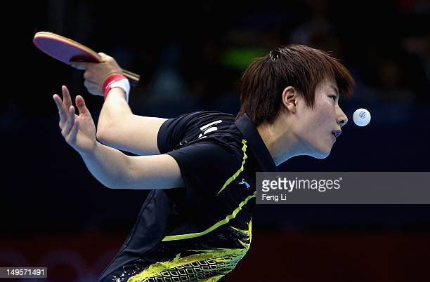 Ning Ding of China plays a forehand during the Women's Singles Table Tennis quarterfinal match against Ai Fukuhara of Japan on on Day 4 of the London...