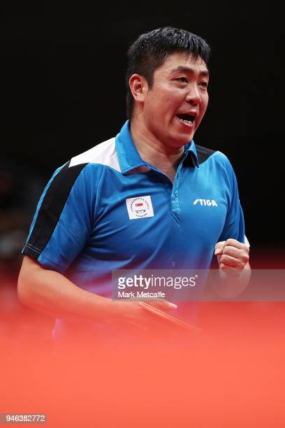 Ning Gao Singapore celebrates winning a point in the Mixed Doubles Gold Medal Match between Liam Pitchford and TinTin Ho of England and Ning Gao and...