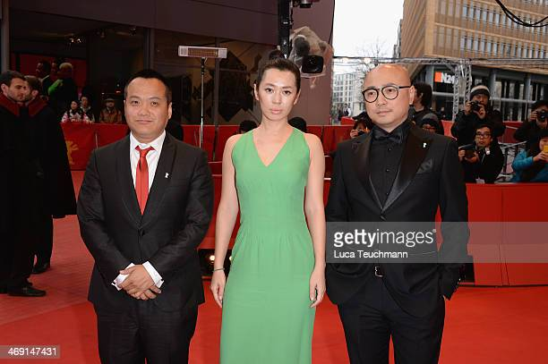 Ning Hao Yu Nan and Xu Zheng attend 'No Man's Land' premiere during 64th Berlinale International Film Festival at Berlinale Palast on February 13...