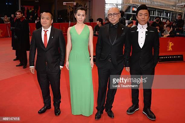 Ning Hao Yu Nan Xu Zheng and Huang Bo attend 'No Man's Land' premiere during 64th Berlinale International Film Festival at Berlinale Palast on...