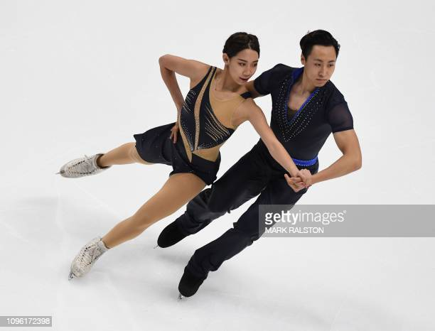 Ning Wanqi and her partner Wang Chao of China compete in the Ice Dance Rhythm Dance competition during the ISU Four Continents Figure Skating...