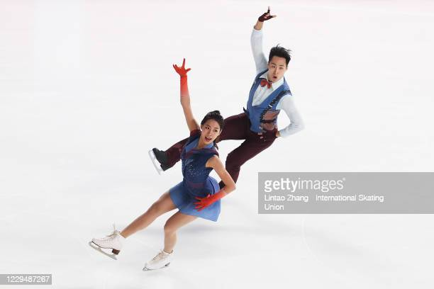 Ning Wanqi and Wang Chao of China performs during the ICE Dance Rhythm Dance on day one of the ISU Grand Prix of Figure Skating Cup of China at Huaxi...