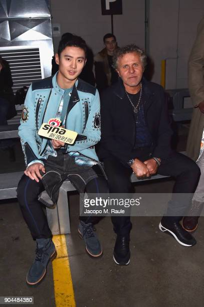 Ning Zetao and Renzo Rosso attend the Diesel Black Gold show during Milan Men's Fashion Week Fall/Winter 2018/19 on January 13 2018 in Milan Italy