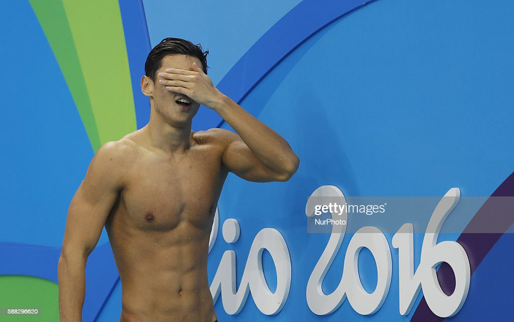 Ning Zetao of China reacts after a men's 100m freestyle semifinal of swimming at the 2016 Rio Olympic Games in Rio de Janeiro, Brazil, on Aug. 9, 2016./ CHINA OUT