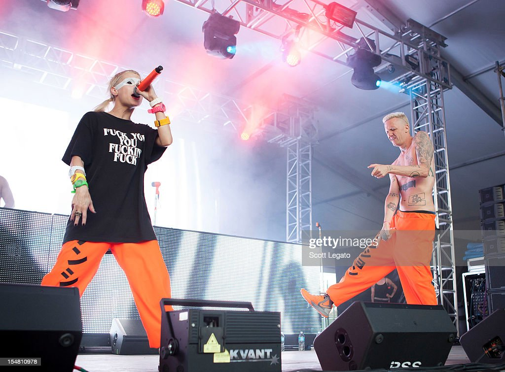 Ninja (L) and Yo-Landi Vi$$er of Die Antwoord performs during the 2012 Voodoo Experience at City Park on October 26, 2012 in New Orleans, Louisiana.