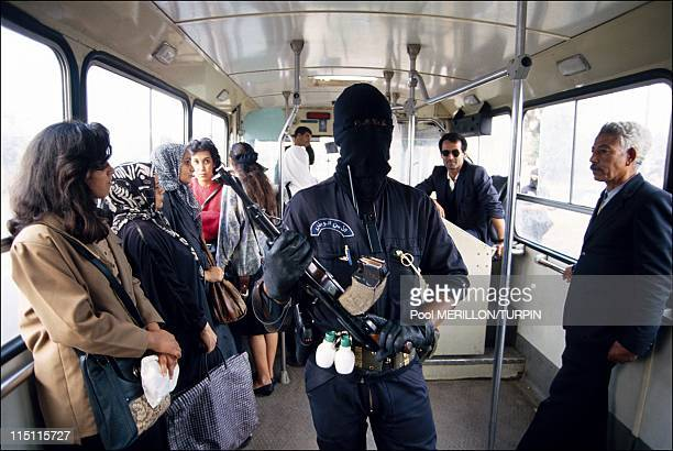 Ninja' antiterrorist unit in Algiers Algeria on October 28 1993 Control in 'La foire' district