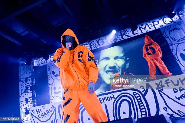 Ninja DJ HiTek and Yolandi Visser of Die Antwoord perform live during a concert at the Columbiahalle on January 23 2015 in Berlin Germany