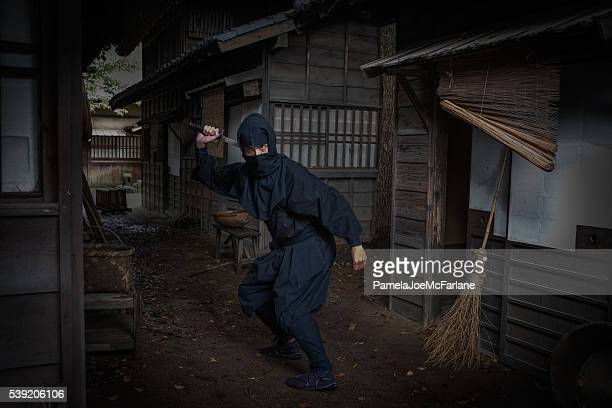 Ninja in Dark, Traditional Japanese Street Pulling Out Sword