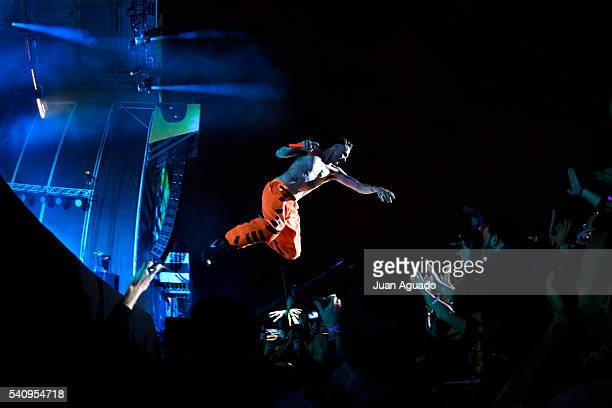 Ninja of Die Antwoord jumps from stage at Mad Cool Festival on June 17 2016 in Madrid Spain