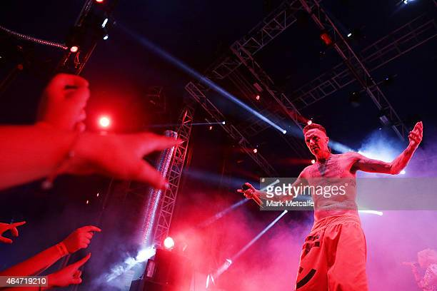 Ninja of Die Antwoord performs during the Future Music Festival at Royal Randwick Racecourse on February 28 2015 in Sydney Australia