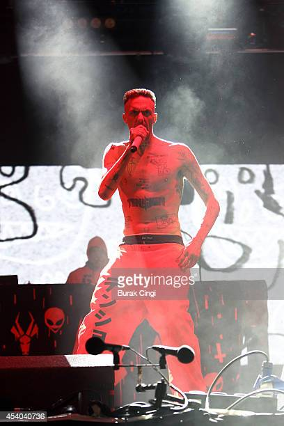 Ninja of Die Antwoord performs on stage at Reading Festival at Richfield Avenue on August 23 2014 in Reading United Kingdom