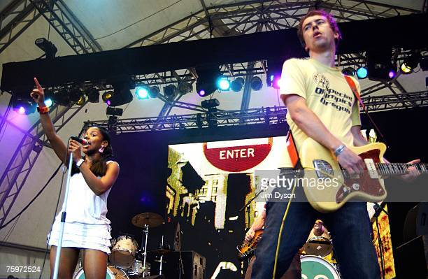 Ninja of the Go Team performs on the Open Air stage during the second day of the Big Chill music festival at Eastnor Castle Deer Park in the Malvern...