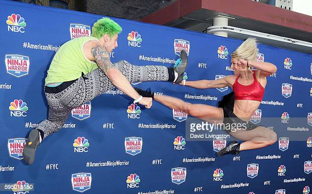 Ninja Warrior athletes Jamie Rahn and Jessie Graff attend a screening of NBC's 'American Ninja Warrior' at Universal Studios Hollywood on August 24...