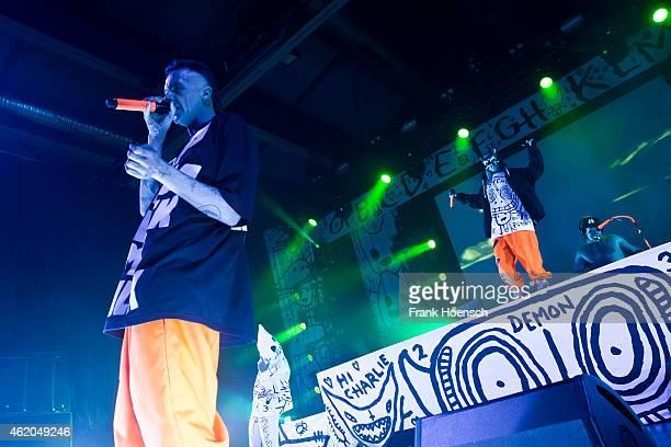 Ninja Yolandi Visser and DJ HiTek of Die Antwoord perform live during a concert at the Columbiahalle on January 23 2015 in Berlin Germany