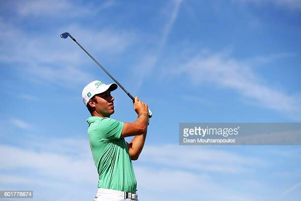 Nino Bertasio of Italy hits his tee shot on the 4th during the third round on day three of the KLM Open at The Dutch on September 10 2016 in Spijk...