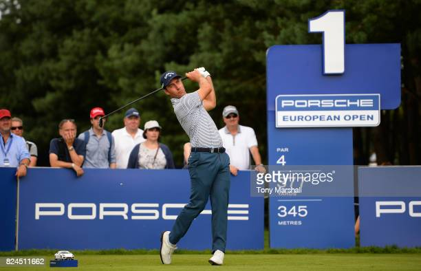 Nino Bertasio of Italy plays his first shot on the 1st tee on his birthday during the Porsche European Open Day Four at Green Eagle Golf Course on...