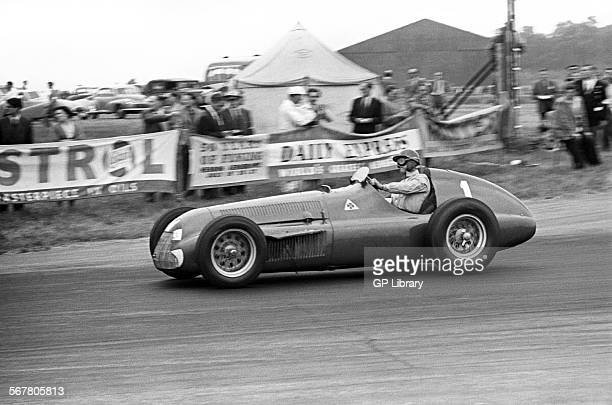 Nino Farina in an Alfa Romeo Alfetta which later retired due to clutch fire at the British Grand Prix Silverstone England 14th July 1951