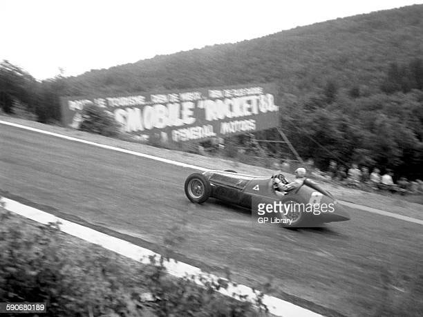 Nino Farina racing in an Alfa Romeo 158 at the Belgian GP Spa 1950